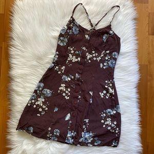 GARAGE Burgundy Floral Button Mini Dress